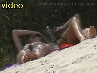 Two pussies filmed on nudists beach